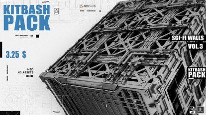 مجموعه مدل سه بعدی دیوار صنعتی Sci-Fi Walls Kitbash Pack Vol 3