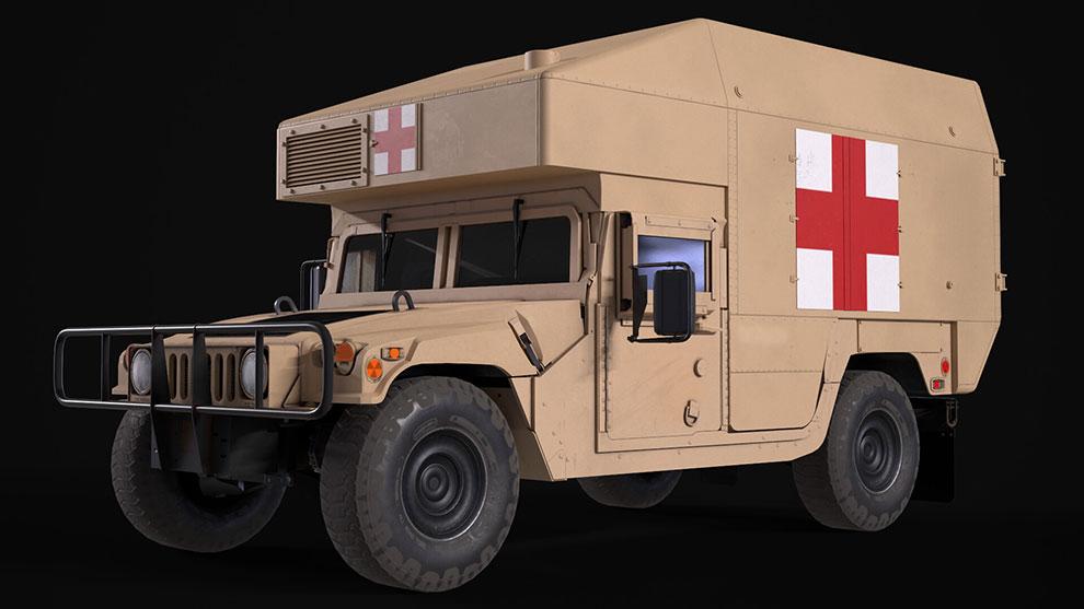 مدل سه بعدی آمبولانس امداد HMMWV Ambulance
