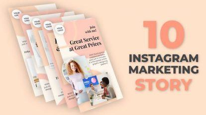 پروژه افترافکت مجموعه استوری اینستاگرام برای مارکتینگ Instagram Marketing Story Pack