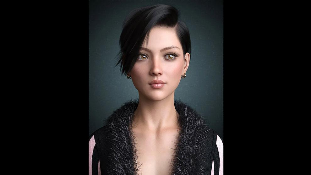 مجموعه مدل سه بعدی مو برای کاراکتر زن Janey Hair for Genesis 8