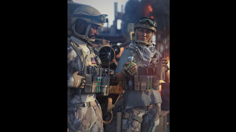 مجموعه مدل سه بعدی لباس و اجزای جانبی نظامی Military Outfit Props