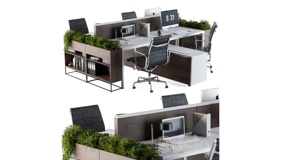 مدل سه بعدی میز و صندلی اداری Office Furniture Flower Box