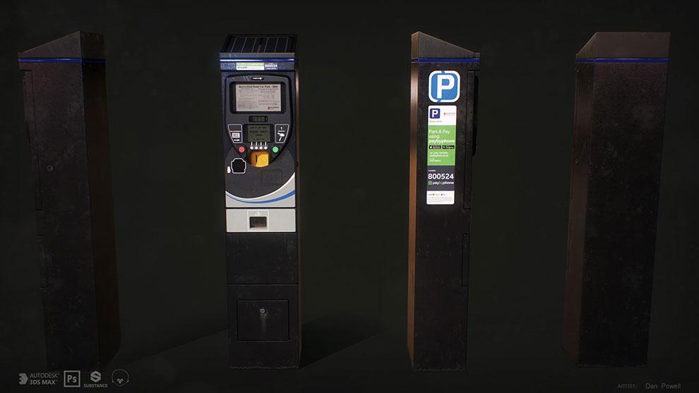 مدل سه بعدی دستگاه قبض پارکینگ Parking Ticket Machine