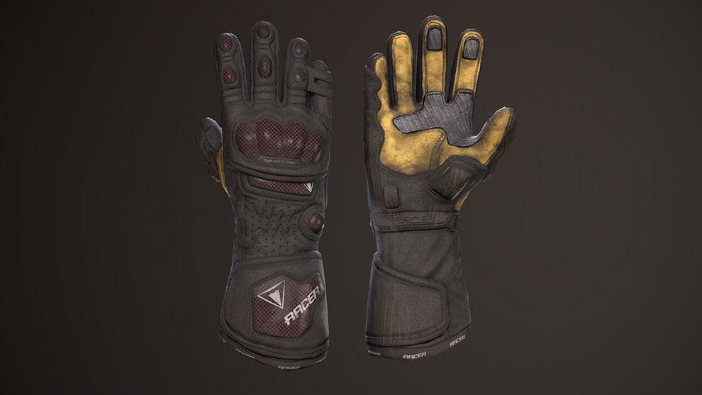 مدل سه بعدی دستکش مسابقه ماشین سواری Racer Gloves