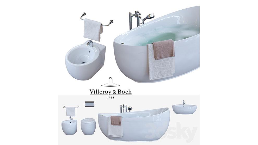 مجموعه مدل سه بعدی اجزای حمام و دستشویی Set of Plumbing Villeroy