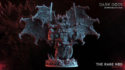 مدل سه بعدی مجسمه با اسکلت و جمجمه The Rage God
