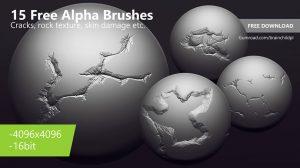 مجموعه تصاویر آلفا ترک خوردگی Alpha Brushes for ZBrush Blender