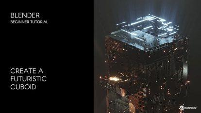 آموزش ساخت مکعبی سه بعدی در بلندر ۳D Futuristic Cuboid in Blender