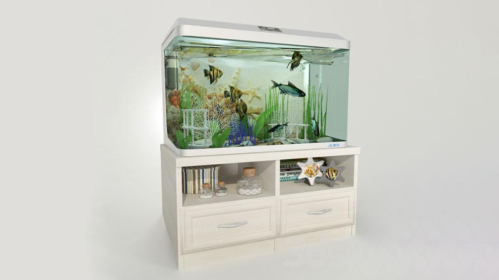 مدل سه بعدی آکواریوم Aquarium with a Curbstone