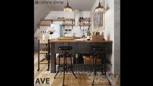 مدل سه بعدی آشپزخانه AVE Kitchen Bar Volume