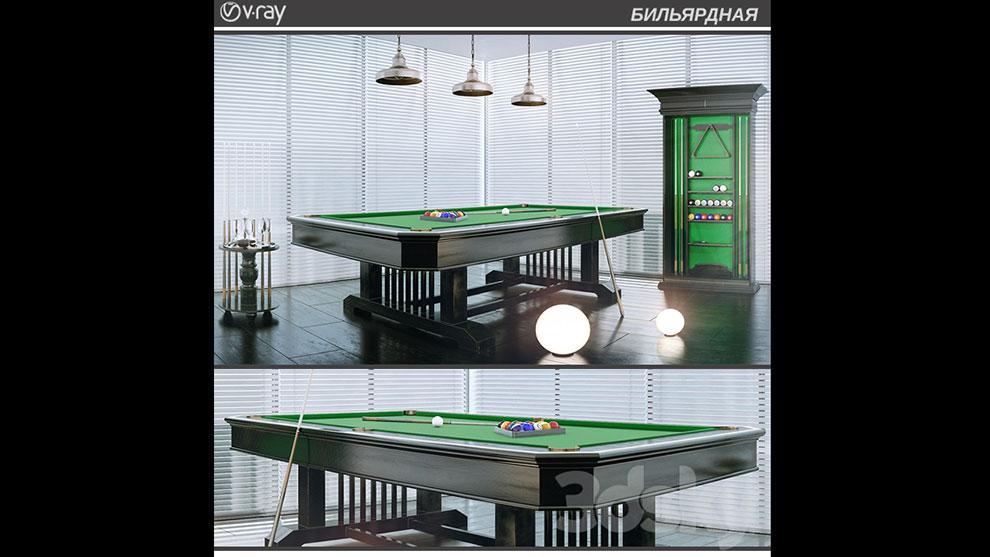 مدل سه بعدی میز بیلیارد Billiard
