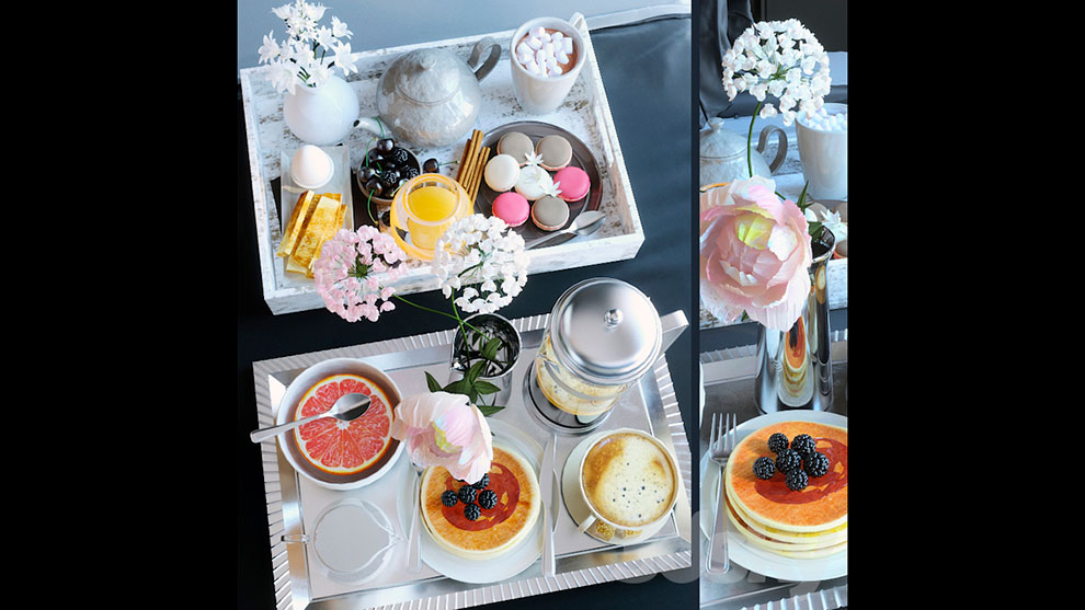 مدل سه بعدی سینی صبحانه Breakfast in Bed