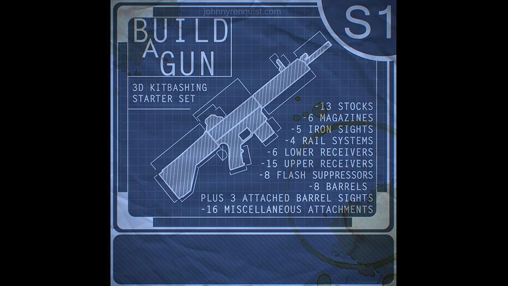 مجموعه مدل سه بعدی اسلحه Build a Gun 3D Kitbashing Starter Set