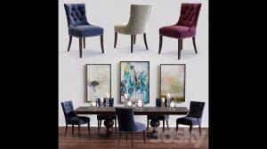 مدل سه بعدی میز و صندلی Cecelia Armchair and Winnetka Table