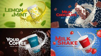 پروژه افترافکت تیزر تبلیغاتی نوشیدنی و غذا Coffee Soda Milkshake