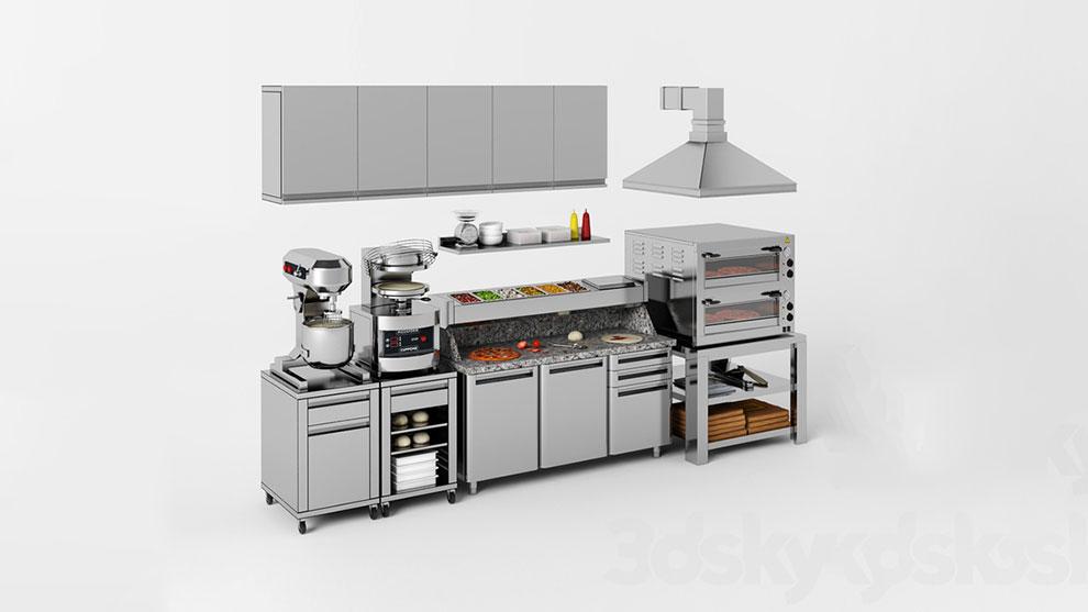 مدل سه بعدی مجموعه تجهیزات پخت پیتزا Equipment for Pizzeria