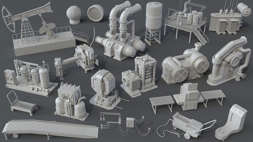 مجموعه مدل سه بعدی اجزای کارخانه Factory Units 7