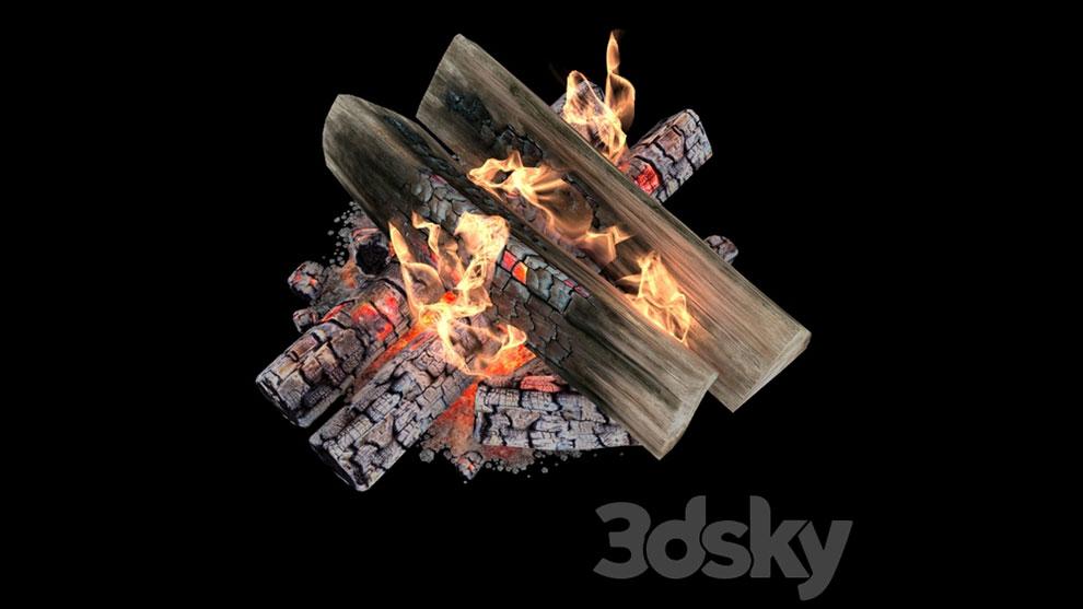 مدل سه بعدی و انیمیشن آتش روی هیزم Fire and Firewood with Animation