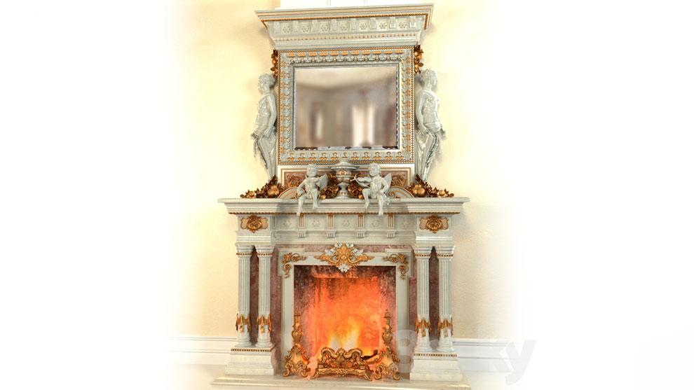 مدل سه بعدی شومینه Fireplace in the Baroque Style