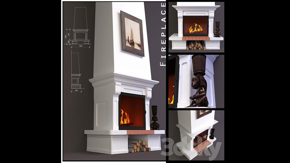مدل سه بعدی شومینه دیواری Fireplace Wall