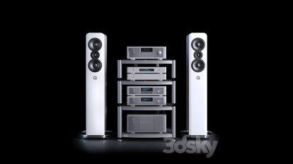 مدل سه بعدی پخش کننده آکوستیک Hi-Fi Kit NAD and Q Acoustics