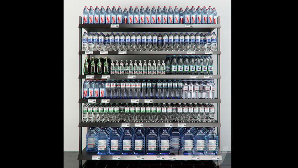 مدل سه بعدی قفسه آب معدنی Rack with Mineral Water