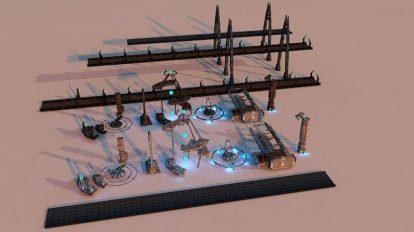 مجموعه مدل سه بعدی اجزای شهری پیشرفته Sci-Fi City Package