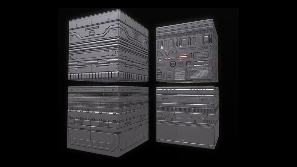 مجموعه تکسچر پنل های پیشرفته Sci-Fi Trim Sheet Textures