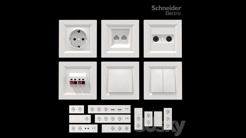 مجموعه مدل سه بعدی سوییچ و سوکت Sockets and Switches Schneider