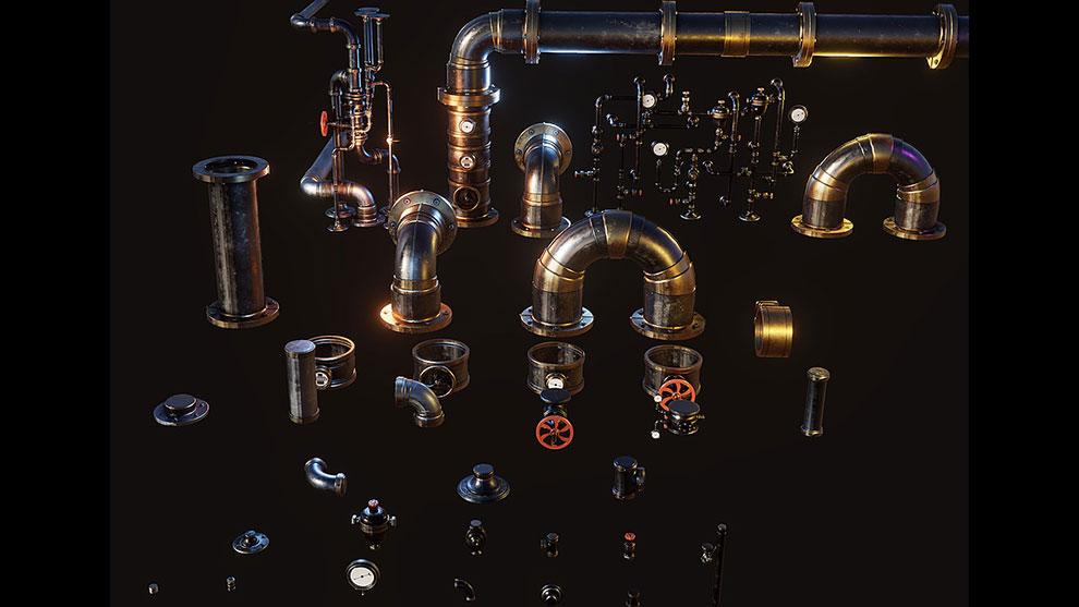 مجموعه مدل سه بعدی لوله صنعتی Steampunk Pipes 3D Kit