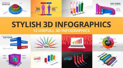 پروژه افترافکت اینفوگرافیک سه بعدی Stylish 3D Infographics