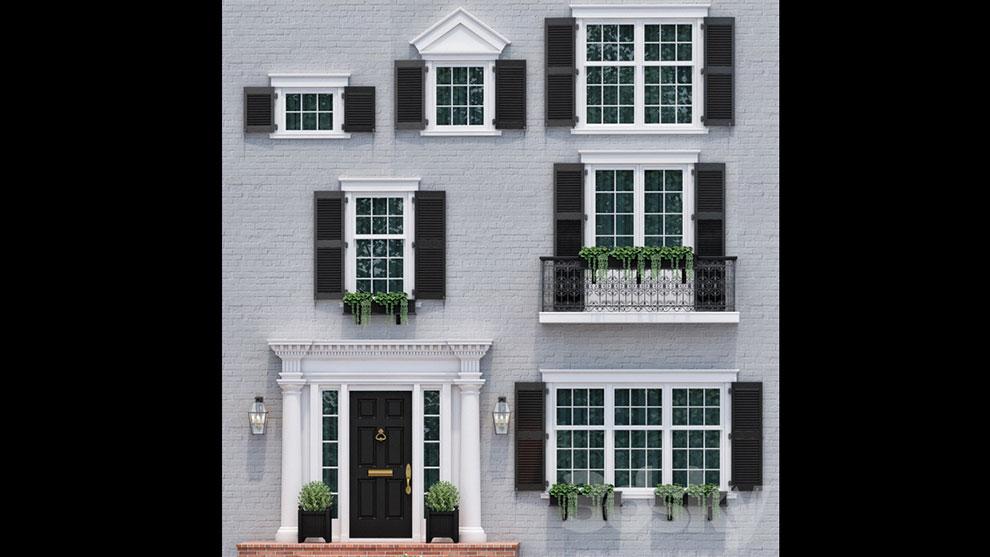 مدل سه بعدی نمای جلوی خانه انگلیسی Windows Doors English Classics 4