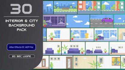 پروژه افترافکت مجموعه زمینه متحرک فلت محیط داخلی Flat Interior and City