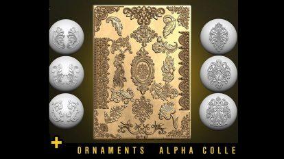 مجموعه تصاویر آلفا اجزای تزیینی Ornament Alphas Tracery Decorations