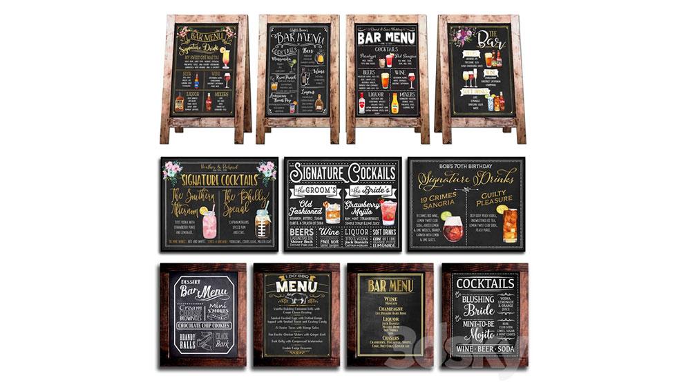 مجموعه مدل سه بعدی تخته گچی برای کافی شاپ Chalkboard for Cafe 2
