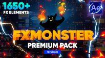 پروژه افترافکت مجموعه موشن گرافیک FX Moster Premium Pack