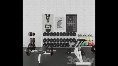 مجموعه مدل سه بعدی تجهیزات ژیمناستیک Gym Set
