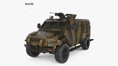 مدل سه بعدی خودرو نظامی Kraz Spartan