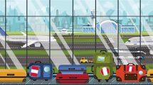 فوتیج موشن گرافیک حرکت ساک مسافران در فرودگاه