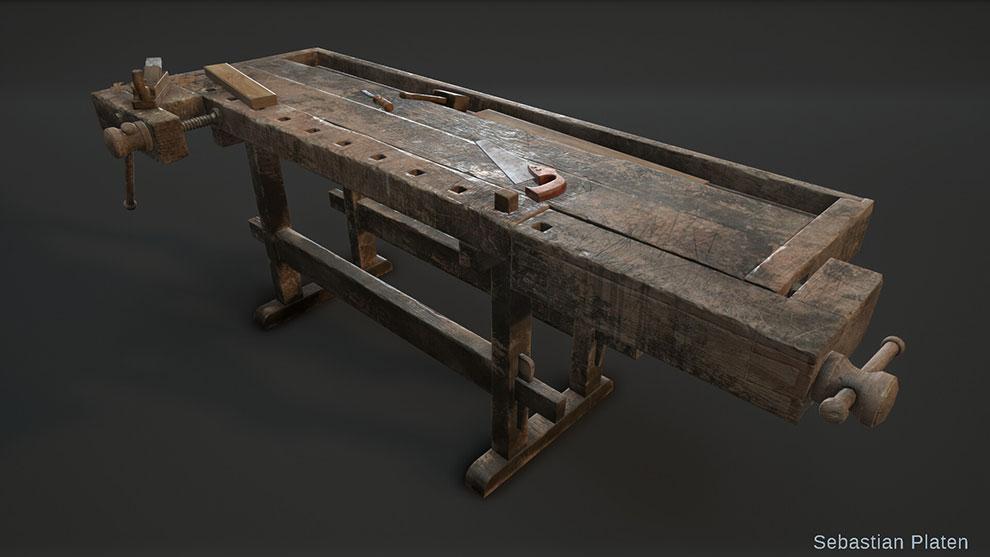 مدل سه بعدی میز نجاری Woodworking Workbench