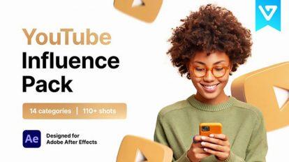 پروژه افترافکت مجموعه اجزای ویدیو یوتیوب Youtube Pack Influence