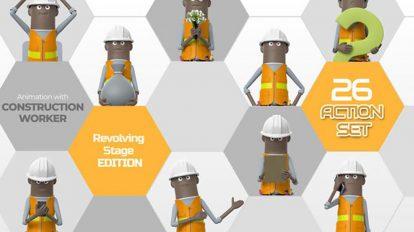 پروژه افترافکت مجموعه انیمیشن کاراکتر کارگر ساختمان Construction Worker