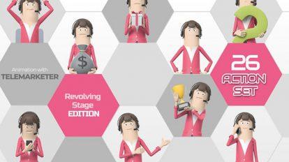 پروژه افترافکت مجموعه انیمیشن کاراکتر بازاریاب Telemarketer