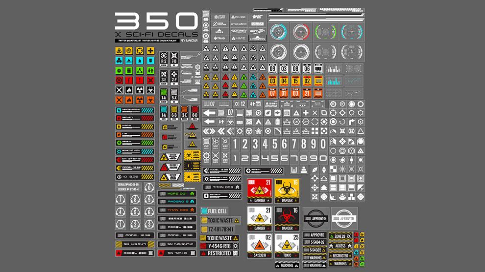 مجموعه تصاویر برچسب تجهیزات Sci-Fi Decal Pack