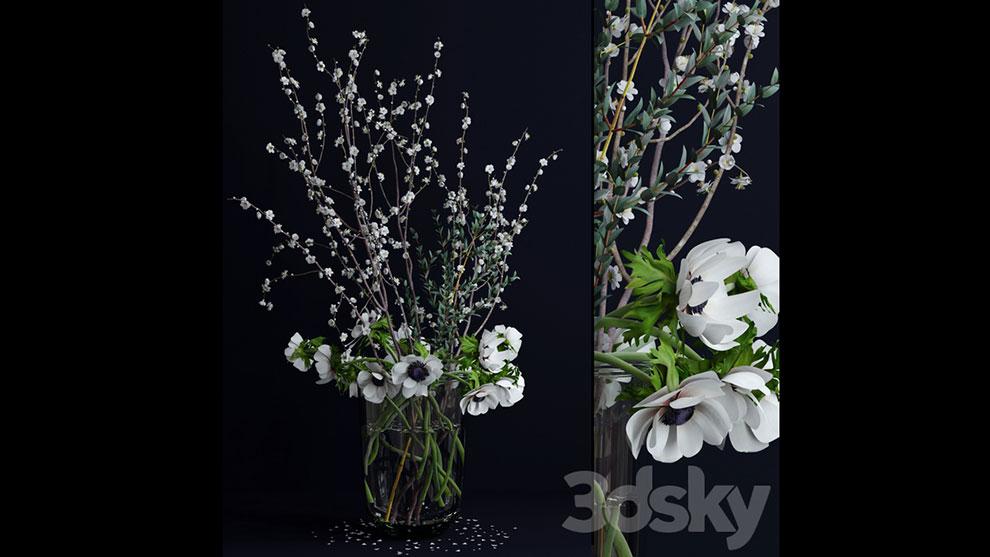 مدل سه بعدی گل و گلدان Anemones and branches