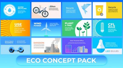 پروژه افترافکت مجموعه کانسپت محیط زیست Animated Eco Concept Pack