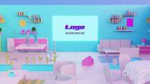 پروژه افترافکت نمایش لوگو اتاق رنگارنگ Colorish Room Logo