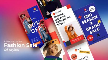 پروژه افترافکت مجموعه استوری اینستاگرام فروش لباس Fashion Sale Stories