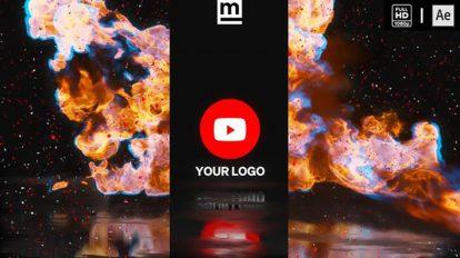 پروژه افترافکت نمایش لوگو با آتش Fire Glitch Reverse Logo