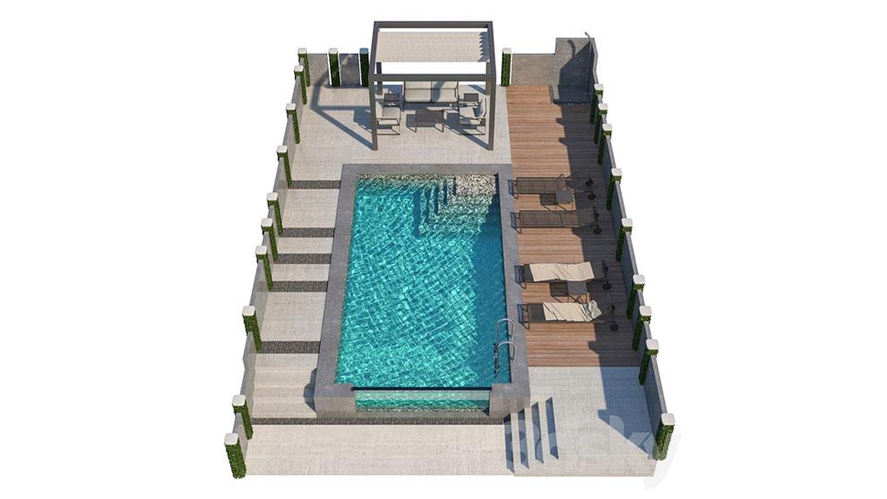 مدل سه بعدی استخر شنا Gazebo and Swimming Pool